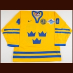 "2004 Henrik Zetterberg Team Sweden World Cup Game Worn Jersey – ""2004 World Cup of Hockey"" - Photo Match - NHLPA Letter"