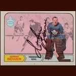 1968-69 OPC Johnny Bower Toronto Maple Leafs Autographed Card – Deceased