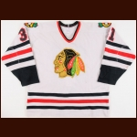 1986-87 Bob Sauve Chicago Blackhawks Game Worn Jersey - Last Blackhawks Jersey