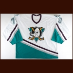 2002-03 J.F. Damphousse Anaheim Mighty Ducks Pre-Season Game Worn Jersey - Photo Match