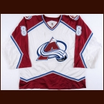 1998-99 Sandis Ozolinsh Colorado Avalanche Game Worn Jeresy - Photo Match – Team Letter
