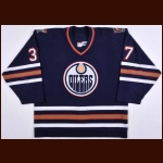 2005-06 Mike Peca Edmonton Oilers Game Worn Jersey – Team Letter