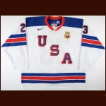 "2010-11 Kyle Palmieri Team USA World Junior Championships Game Worn Jersey – ""2011 USA"" - Photo Match – Team USA Letter"