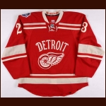 "2013-14 Brian Lashoff Detroit Red Wings Winter Classic Game Worn Jersey – ""2014 Winter Classic"""