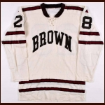 Late 1960's Brown University Game Worn Jersey - Player #28