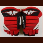 Paul Martin New Jersey Devils Red & Black Mission Game Worn Gloves – Rookie - Team Letter