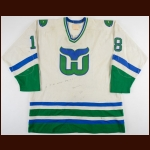 1982-83 Greg Adams Hartford Whalers Game Worn Jersey - Career Best 216 PIMS - Photo Match
