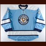 2009-10 Jay McKee Pittsburgh Penguins Game Worn Jersey – Alternate - Photo Match – Team Letter