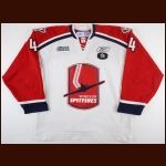 "2007-08 Taylor Hall Windsor Spitfires Game Worn Jersey – Rookie – Tombstone – ""18 - Mickey Renaud Tribute - Photo Match – Team Letter"