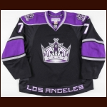 2007-08 Derek Armstrong Los Angeles Kings Game Worn Jersey - Photo Match – Team Letter