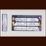 Masks From the Past Autographed Card - Tony Esposito, Grant Fuhr, Bernie Parent, Gerry Cheevers, Johnny Bower and Glenn Hall - PSA/DNA