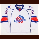 2007-08 Mike Card Rochester Americans Game Worn Jersey – AHL Letter