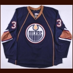 2009-10 Steve MacIntyre Edmonton Oilers Pre-Season Game Worn Jersey – Alternate - Team Letter