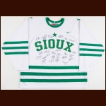 2006-07 University of North Dakota Fighting Sioux Team Signed Jersey - 1954 Retro – Signatures include Jonathan Toews & T.J. Oshie
