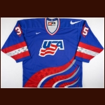 "1996 Mike Richter Team USA World Cup of Hockey Game Worn Jersey – ""1996 World Cup of Hockey"" - 1996 World Cup MVP - NHLPA Letter"