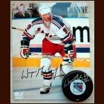 Wayne Gretzky Rangers Autographed 8x10 Photo and Puck