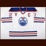 2003-04 Jason Smith Edmonton Oilers Pre-Game Warm-Up Jersey - Heritage Classic – Vintage – Team Letter