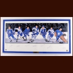 Toronto Maple Leafs Limited Edition Lithograph - Autographed By 7 Hall of Famers - Matted and Framed