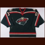 2002-03 Dwayne Roloson Minnesota Wild Game Worn Jersey - Photo Match – Team Letter