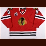 1992-93 Cam Russell Chicago Blackhawks Game Worn Jersey - Team Letter