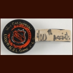 Guy Carbonneau 1000th NHL Game and 400th NHL Assist Pucks  - Guy Carbonneau Letter