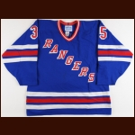 1988-89 Mike Richter New York Rangers Game Jersey – Rookie - First NHL Road Jersey