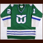 1980-81 Blaine Stoughton Hartford Whalers Game Worn Jersey - The New England Collection - Photo Match