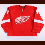 2014-15 Gustav Nyquist Detroit Red Wings Game Worn Jersey - Photo Match – Team Letter
