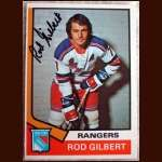 1974-75 OPC Rod Gilbert New York Rangers - Autographed