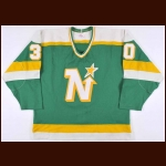1985-86 Jon Casey Minnesota North Stars Game Worn Jersey – Rookie