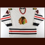 1995-96 Patrick Poulin Chicago Blackhawks Game Worn Jersey – Team Letter