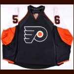 2007-08 Claude Giroux Philadelphia Flyers Game Worn Jersey - Rookie - #56 - 1st NHL Home Jersey - Photo Match – Team Letter