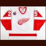1992-93 John Ogrodnick Detroit Red Wings Game Worn Jersey - Photo Match
