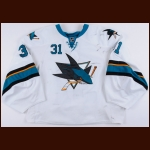 2013-14 Antti Niemi San Jose Sharks Game Worn Jersey - Career Best 39 Wins - Photo Match