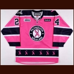 2011 Rickard Rakell Plymouth Whalers Game Worn Jersey - Breast Cancer Awareness Night - Photo Match