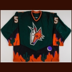 2001-02 Drake Berehowsky Phoenix Coyotes Game Worn Jersey – Alternate - Photo Match