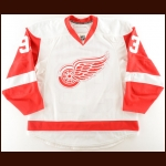 2008-09 Johan Franzen Detroit Red Wings Game Worn Jersey – Career Best 34 Goal Season – Photo Match – Team Letter