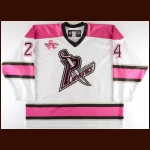 2008-09 Jimmy Bonneau Portland Pirates Game Worn Jersey - Breast Cancer Awareness – Team Letter