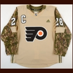 2017-18 Claude Giroux Philadelphia Flyers Military Warm Up Jersey - 2nd Team NHL All Star - All Star Season - Photo Match – Team Letter