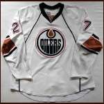 2007-08 Dustin Penner Oilers Game Worn Jersey - Team Letter