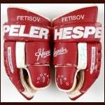Viacheslav Fetisov Detroit Red Wings Hespeler Game Worn Gloves - Autographed