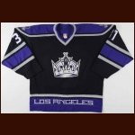 2002-03 Jared Aulin Los Angeles Kings Game Worn Jersey - Rookie - Photo Match - Team Letter