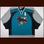 2003-04 Alyn McCauley San Jose Sharks Game Worn Jersey – Team Letter