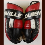 Randy McKay New Jersey Devils Red & Black Louisville Game Worn Gloves – Autographed