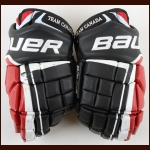 Taylor Hall Team Canada Black Bauer Game Worn Gloves – 2010 National Junior Team - Team Canada Letter
