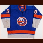 "1973-74 Gerry Desjardins New York Islanders Game Worn Jersey - 2nd Year Islanders - Glenn ""Chico"" Resch Letter"