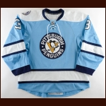 "2010-11 Alex Goligoski Pittsburgh Penguins Game Worn Jersey – Alternate - ""Consol Energy Inaugural Season"" – Team Letter"