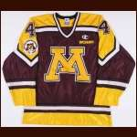 "1996-97 Brian Lafleur University of Minnesota Game Worn Jersey – ""Gophers 75-year Anniversary"""
