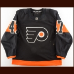 2018-19 Andrew MacDonald Philadelphia Flyers Game Worn Jersey – Alternate – Photo Match – Team Letter