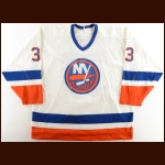 1989-90 Marc Bergevin New York Islanders Game Worn Jersey – The Terrence Murphy Collection – Joe Murphy Letter